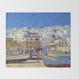 Albufeira fishing boats, Portugal Throw Blanket