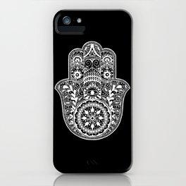 Black and White Hamsa Hand iPhone Case