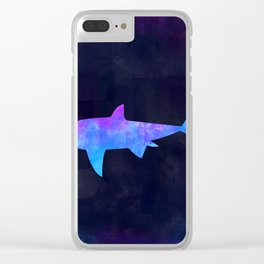 SHARK IN SPACE // Animal Graphic Art // Watercolor Canvas Painting // Modern Minimal Cute Clear iPhone Case
