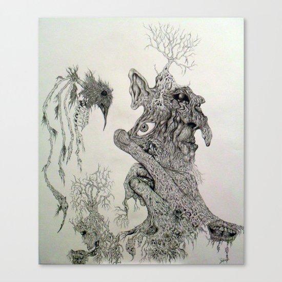 Perception of a starkly raven. Canvas Print