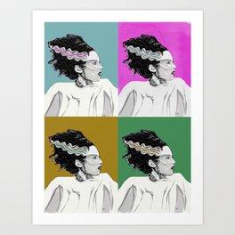 Bride of Frankenstein Color Tile Pop Art Art Print