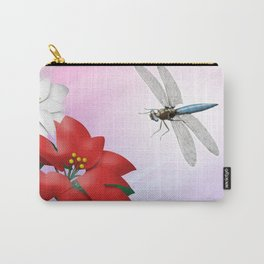 Dragonfly Poinsettia Carry-All Pouch