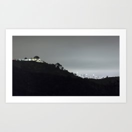 Griffith Park Observatory and Los Angeles Skyline at Night Art Print
