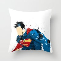 man of steel Throw Pillows featuring Man of Steel by ALmighty1080