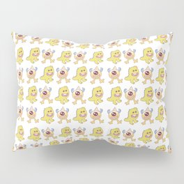 Funny orange lime green cute monsters pattern Pillow Sham