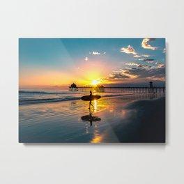 Surf City USA - Little Surfer Girl Metal Print