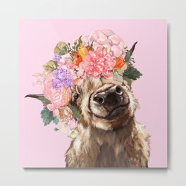 Highland Cow with Flowers Crown in Pink Metal Print