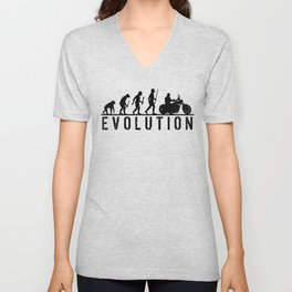 The Evolution Of Man And Motorcycle Unisex V-Neck