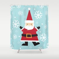 santa Shower Curtains featuring Santa by Claire Lordon