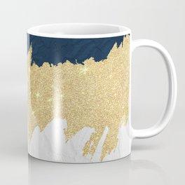 Navy blue white lace gold glitter brushstrokes Coffee Mug