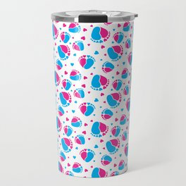 Pattern with Baby Feet  and Hearts in pink and blue color Travel Mug
