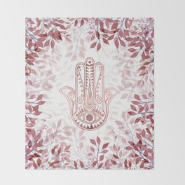 Modern burgundy faux rose gold Hamsa Hand of Fatima floral Throw Blanket