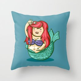 funny fat mermaid Throw Pillow