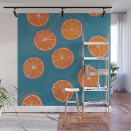 hand-painted california orange slices Wall Mural