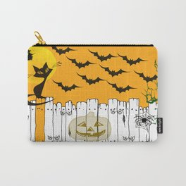 Black Cat on a Spooky Fence - Halloween Carry-All Pouch