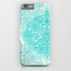 Happy Place Doodle in Mint Green & Aqua Slim Case iPhone 6s