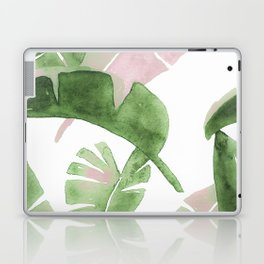 Tropical Leaves Green And Pink Laptop & iPad Skin