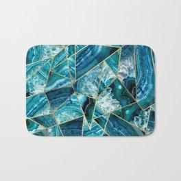 Turquoise Navy Blue Agate Black Gold Geometric Triangles Bath Mat