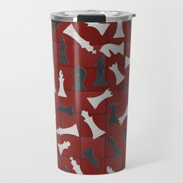 Chess Figures Pattern -Leather texture Travel Mug