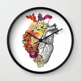 Flower Heart Spring White Wall Clock