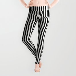 Skinny Stroke Vertical Black on Off White Leggings