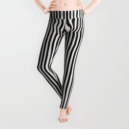 Skinny Stroke Vertical Black on Off White Leggings