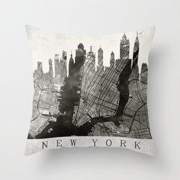 New York Skyline + Map #3 Throw Pillow
