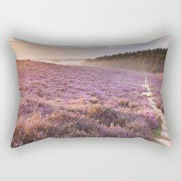 II - Path through blooming heather at sunrise, Posbank, The Netherlands Rectangular Pillow