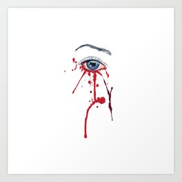 Blue eye with red paint Art Print