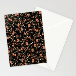 Wild Cherries Field , Woodcut Style Fruit Pattern Illustration Red on Black Stationery Cards