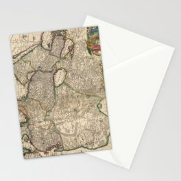 Vintage Map of Asia (1689) Stationery Cards