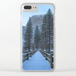 Swinging Bridge (also known as Sentinel Bridge) is covered in a fresh dusting of Spring snow Clear iPhone Case