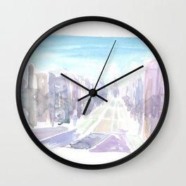 Edinburgh Street Scene in Early Morning Dusk Wall Clock