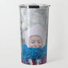 Girl Throwing Snow in Winter Travel Mug