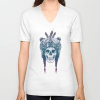 dead V-neck T-shirts featuring Dead shaman by Balazs Solti