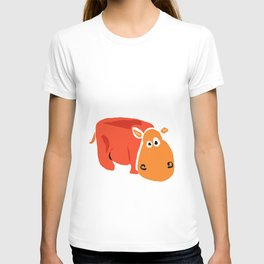 Funny Orange Hippo Artwork T-shirt