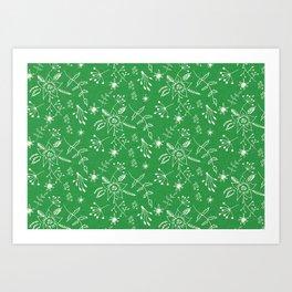 Winter Floral Green Art Print