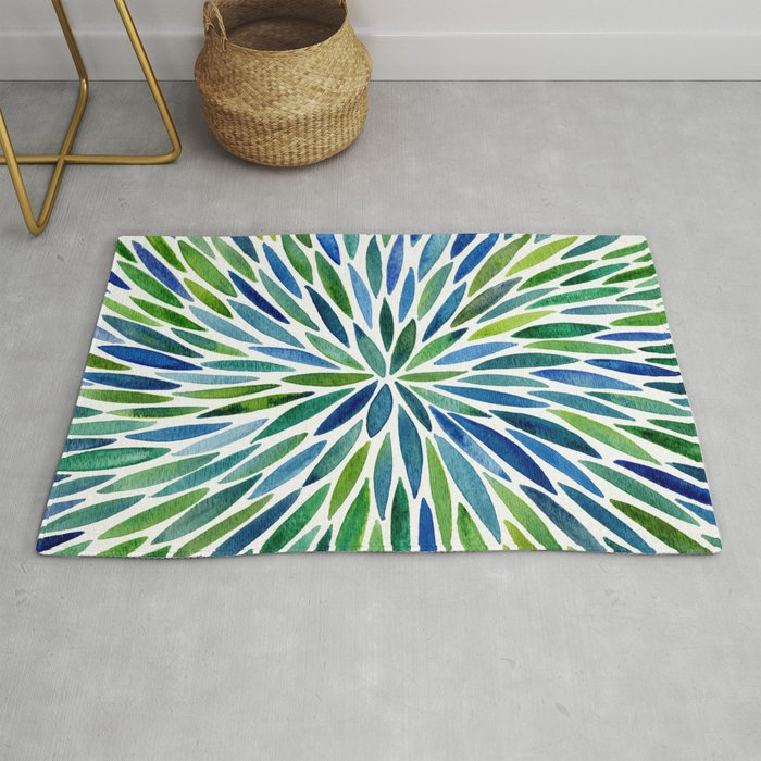 Watercolor Burst – Blue & Green Rug by