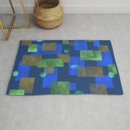 Blue Squares and Circles Rug