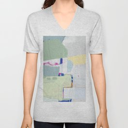 Rockpile II - abstract painting in navy, mint, cream, white, and pink Unisex V-Neck