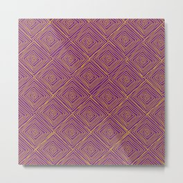Squiggle Square Pattern Purple Metal Print