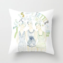 "Beach art, ""trio"", soul sisters, blue and green coastal Throw Pillow"