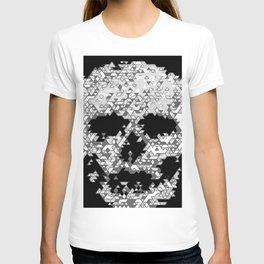 Geometric Light Grey Skull Composed Of Triangles T-shirt