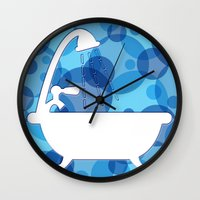 toilet Wall Clocks featuring Toilet - bath by Raquel Basso