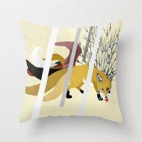 kitsune Throw Pillows featuring Kitsune by ravenguerrero