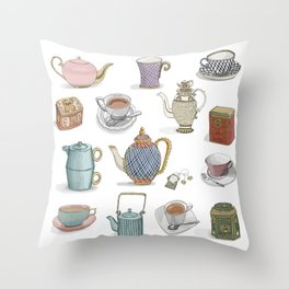 Vintage Teacups and Teapots white background Throw Pillow