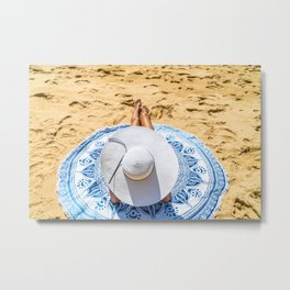 Vacation Time, Summer Holiday, Young Woman Lifestyle, White Beach Hat, Happy Girl, Sea And Ocean Metal Print