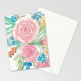 Loose Watercolor Floral Pattern Stationery Cards
