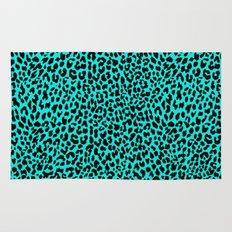 Neon Turquoise Leopard Rug