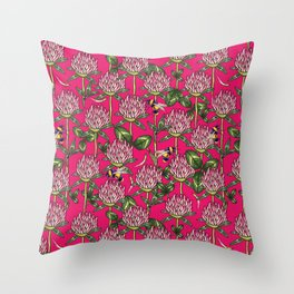 Red clover pattern Throw Pillow
